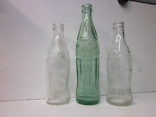 3 Embossed Coca Cola 10 Fluid Ounce Bottles ~ 1 Shade of Green and 2 Clear