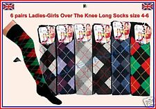 6 pairs LADIES GIRLS LONG OVER THE KNEE ARGYLE SOCKS BOOTS size uk 4-6