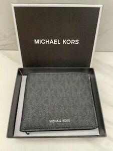 ~* New Auth. Michael Kors Jet Set Leather Monogram Wallet Black *~