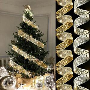 LED Ribbon Christmas Tree Topper Lights Xmas Tree Top Ribbon Bows Party Ornament