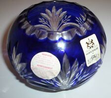 "Ajka Crystal Bowl Blue 3.5"" by 4.5"""
