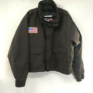 EUC BLAUER Jacket w/ Quilted Liner Model 9010Z  Brown XL Gor-Tex Flag Emblem