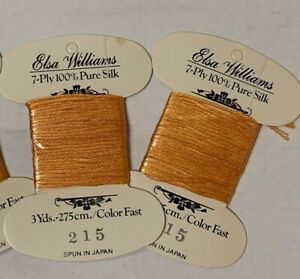 Elsa Williams 7 Ply 100% Silk Embroidery Thread ~Pack of 2 Cards~ Orange /215/