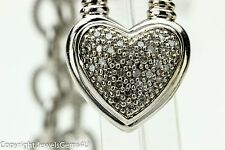 "Sterling Silver 0.25 ct Pave Diamond Heart Pendant Necklace 17.5"" Heavy"