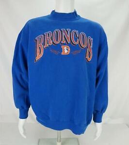 VTG Nutmeg Mills Denver Broncos Sweatshirt Made in USA Blue Men's XL