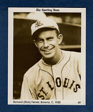 "#49 Rick Ferrell, 1930 Browns The Sporting News 1981 Conlon Collection 4""x 5"""