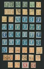 FRANCE STAMPS 1851-1863 NAPOLEON IMPERF ISSUES INC PAIRS & SHIP CANCELS TO 80c