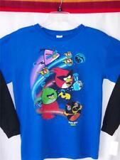 Angry Birds SHIRT Blue XL 18-20 Long Sleeves SPACE Big Red Bomb Lazer NWT $24