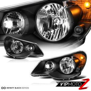 For 07-10 Chrysler Sebring SRT Style Black Housing Clear Headlight Lamp L+R Pair