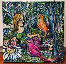 Birds Blue Original original art oil painting by Melissa Bollen Impressionism
