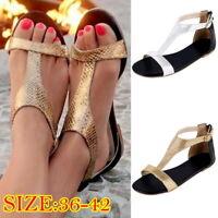 Fashion Women Casual PU Leather Flat Sandals Flip Flop Open Toe Beach Shoes