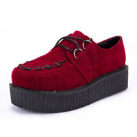 Women Creepers Platform Shoes Suede Black Red Lace up Thick Soles Chunky Pumps