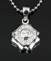 Genuine 925 Sterling Silver Antique Style CZ Pave Pendant with Chain Necklace AU
