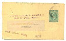 TRINIDAD 1904 WRAPPER -FORWARDED BY JULIAN H. ARCHER - PER ROYAL MAIL -AMSTERDAM