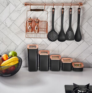 Set of 5 Containers Airtight Food Storage Kitchen Accessories Black/Copper