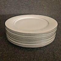 Noritake Ranier Dinner Plates Set of 8 White Floral Platinum Trim