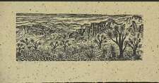 Woodcut  Print Joshua Forest Southwest Desert Landscape Japanese Mulberry Paper