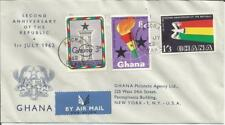 Ghana  1962   Second 2nd Anniversary Republic  Accra to New York  FDI FDC  Cover