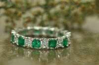 3.00Ct Princess Cut Emerald Diamond Full Eternity Ring Band 14K White Gold Over