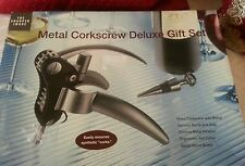 Sharper Image Deluxe Metal Corkscrew Gift Set with Vacuum Pump Seal & Stopper