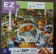 MB White Wicker Summer 300 Piece Puzzle Cat Easy Grasp