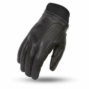 Men's Waterproof Driving Glove Premium Aniline Cowhide Biker Gloves by FirstMfg