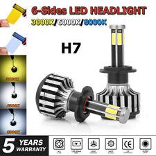 H7 LED Headlight 6 Sides COB Chips Car Conversion Bulbs Kits 3000K 8000K 6000K