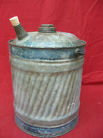 Antique Vintage NESCO Galvanized Metal Oil Gas Can with Wood Handle