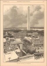 WASHINGTON DC VIEW, MONUMENT, antique engraving original 1884*