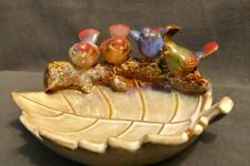 Beutiful Candy/Nut Dish With 4 Little Birds On A Log