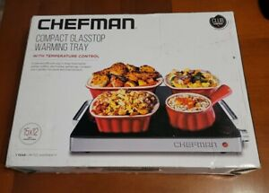 Chefman Compact Glasstop Warming Tray with Adjustable Temperature Control Per...