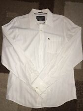 Abercrombie & Fitch Mens Muscle Button Front Oxford White Gray Striped Xl