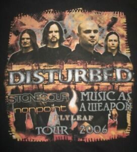 2006 DISTURBED STONESOUR FLYLEAF Music As A Weapon Concert Tour (MED) T-Shirt