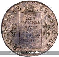 FRANCE - Louis XVI - Convention - 1/2 Sol aux balances 1793 H - SPL