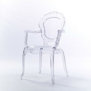 NICHES V2 Bella Ghost Clear Transparent Arm Designer French Dinning Vanity Chair