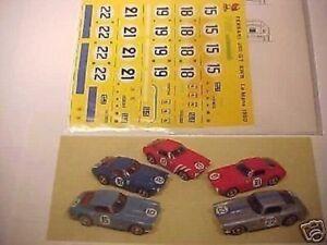 1/43 DECALS 5 VERSION CAR FERRARI 250 SWB LE MANS 1961 1/43 FULL DECAL