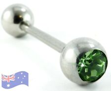 Peridot Gem Steel Tongue Bar Ring - 14g 16mm Body Jewellery LIGHT GREEN C