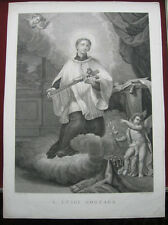 Kupferstich von A. Verico: Aloisius Gonzaga auf Wolken 1795/Engraving Aloysius