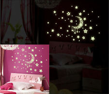 Glow In The Dark Moon and Stars Wall Sticker Kids Bedroom Home Decor UK