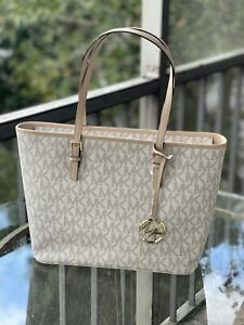 Michael Kors Women Lady Large Leather Shoulder Tote Handbag Bag Purse Vanilla