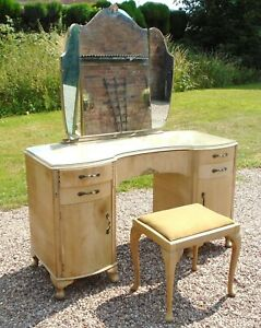 Vintage/Retro Dressing Table ~ with Triple Mirror / Drawers / Cupboards & Stool