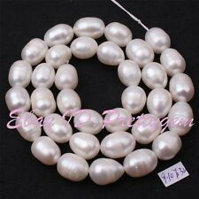 """9-10mm White Oval Freshwater Cultivate Pearl Gemstone Beads Spacer Strand 15"""""""