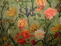 Botánica Narcisos Rosas Iris Terciopelo Floral Tela Tapicería de Cortina Cojín