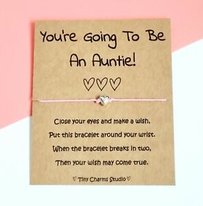 You're Going To Be An Auntie! Wish Bracelet Baby Shower Baby Announcement reveal