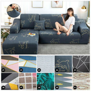 Washable L Shape Stretch Elastic Fabric Sofa Cover Sectional Corner Couch Covers
