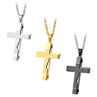 Men's Stainless Steel Christ Cross Bible Text Prayer Pendant Necklace Chain 22""