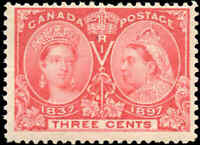 1897 Mint H Canada F+ Scott #53 3c Diamond Jubilee Stamp