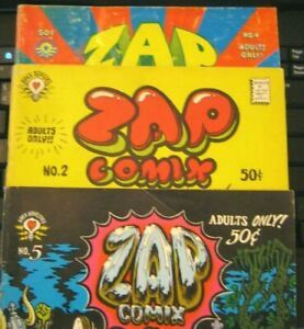 (3 lot) ZAP Comix 2 4 5 EARLY PRINTS R Crumb Wilson Apex Novelties free ship