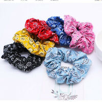 Fashion Print Bandana Elastic Hairtie Scrunchies Ponytail Holder Hair Ties Bands