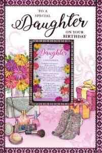 """To A Special Daughter Birthday Card. With Keepsake Card. Large Card 9"""" x 6"""""""